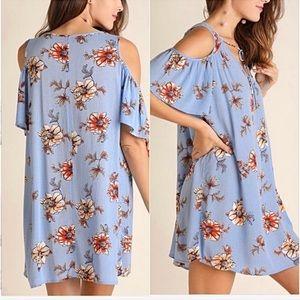 Tops - Boho Floral Cold Shoulder Tunic Dress SML